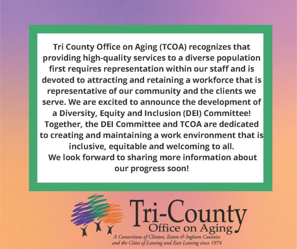 Colorful background with the TCOA DEI Committee commitment statement.